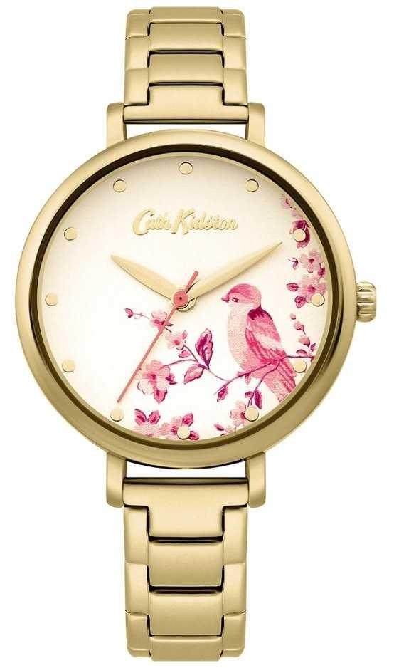 Cath Kidston Gold Stainless Steel Bracelet | Floral Bird Dial CKL099GM