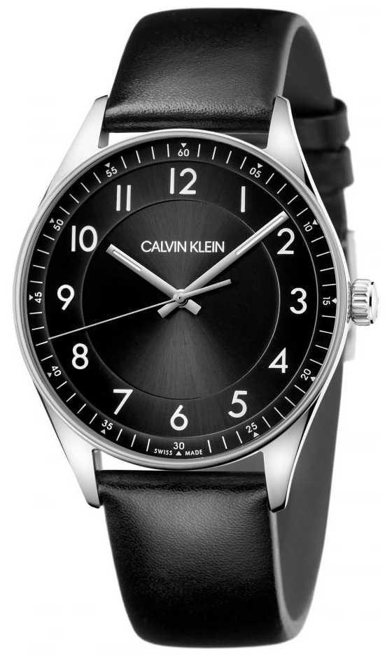 Calvin Klein   Bright   Black Leather Strap   Black Dial   KBH211C1