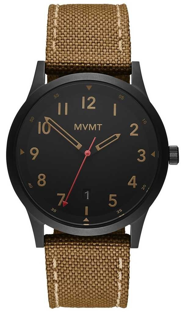 MVMT   Field   Brown Canvas Strap   Black Dial 28000017-D