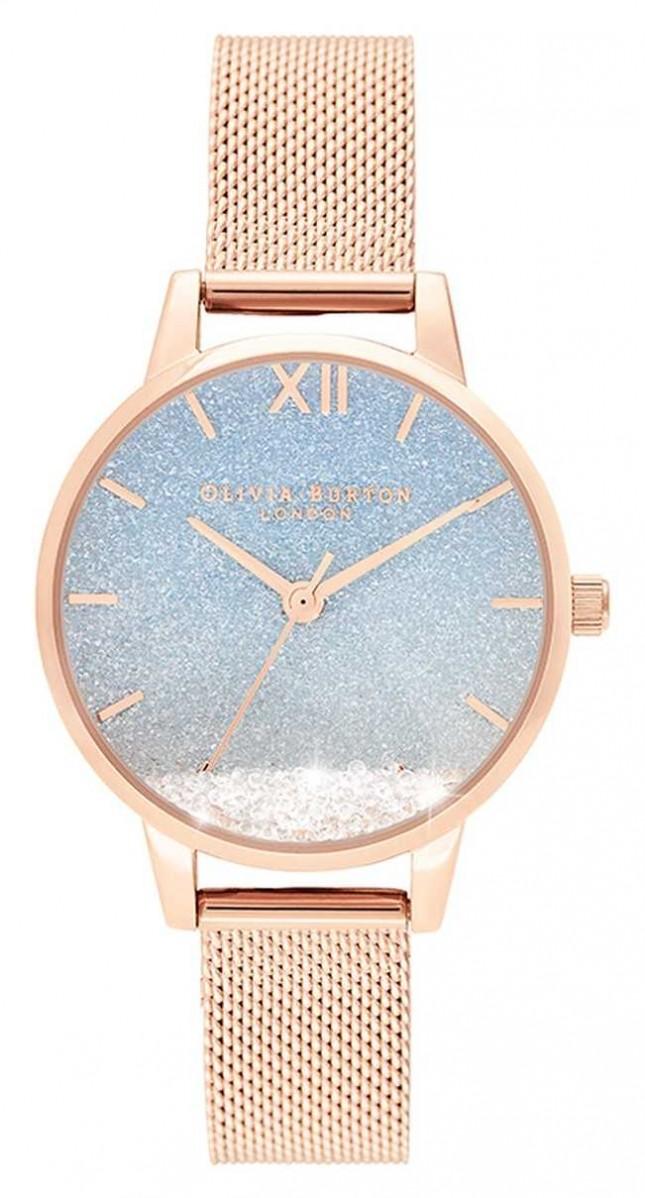 Olivia Burton Wishing Wave | Glitter Dial | Rose Gold Mesh Strap OB16EX204