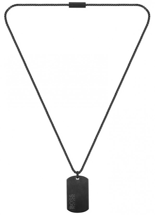 BOSS Jewellery ID Dog Tag Black PVD Steel Necklace 610mm 1580052