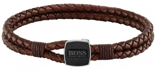 BOSS Jewellery Seal Brown Leather Bracelet 180mm 1580048M