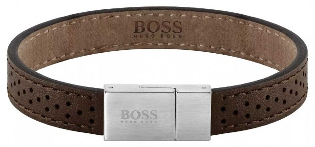 BOSS Jewellery Essentials Brown Leather Bracelet 180mm 1580034M