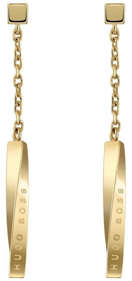 BOSS Jewellery Signature Gold PVD Stainless Steel Drop Earrings 37mm 1580009