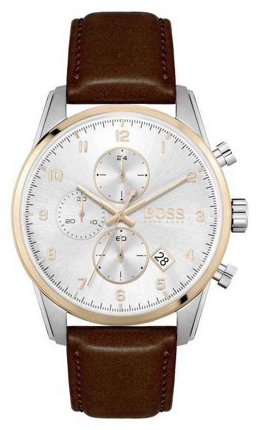 BOSS | Men's Sky Master | Brown Leather Strap | Silver Dial 1513786
