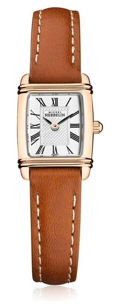 Michel Herbelin | Women's Brown Leather Strap | Silver Rectangle Dial | 17438/PR08GO