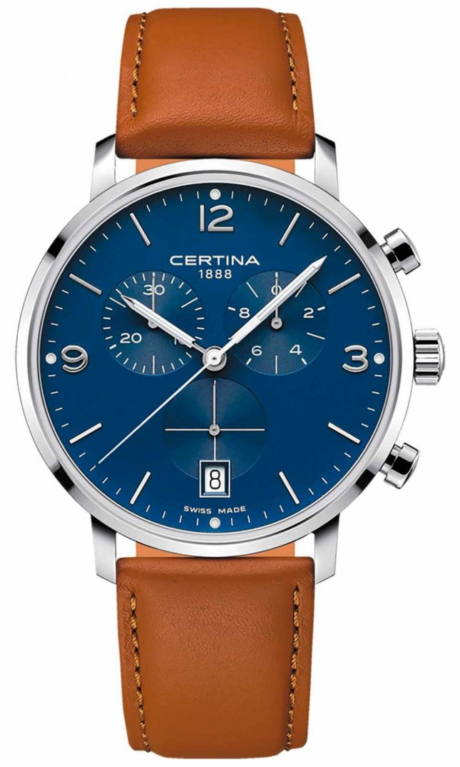 Certina Men's | DS Caimano | Chronograph | Blue Dial | Brown Leather C0354171604700