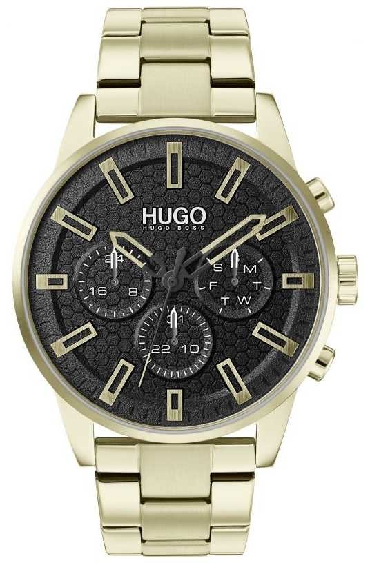 HUGO #SEEK | Gold Stainless Steel Bracelet | Black Dial | 1530152