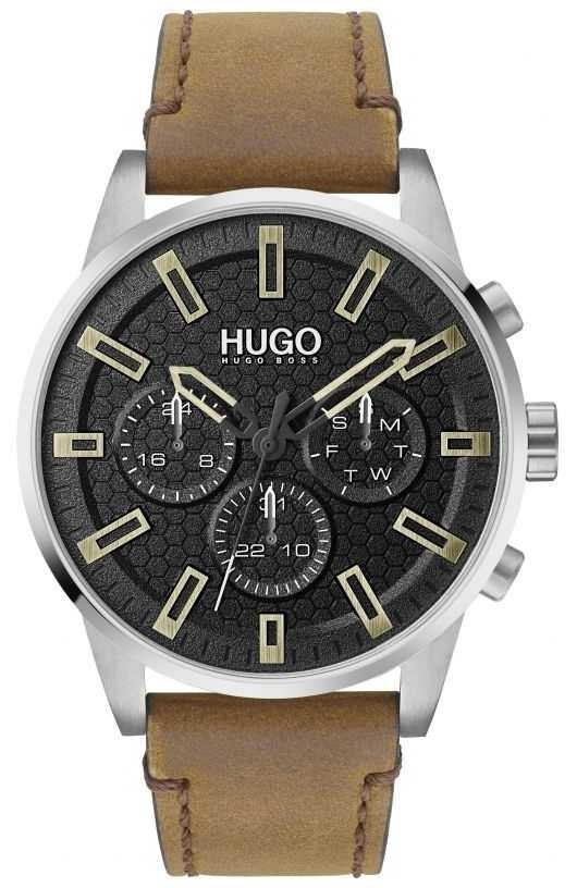 HUGO #SEEK | Black Dial | Brown Leather Strap 1530150