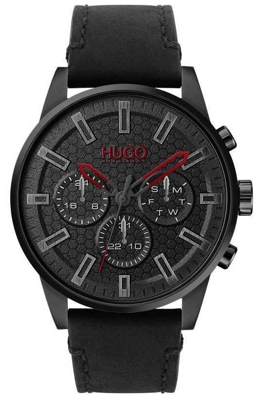 HUGO | #SEEK | Black Leather Bracelet | Black Dial | 1530149
