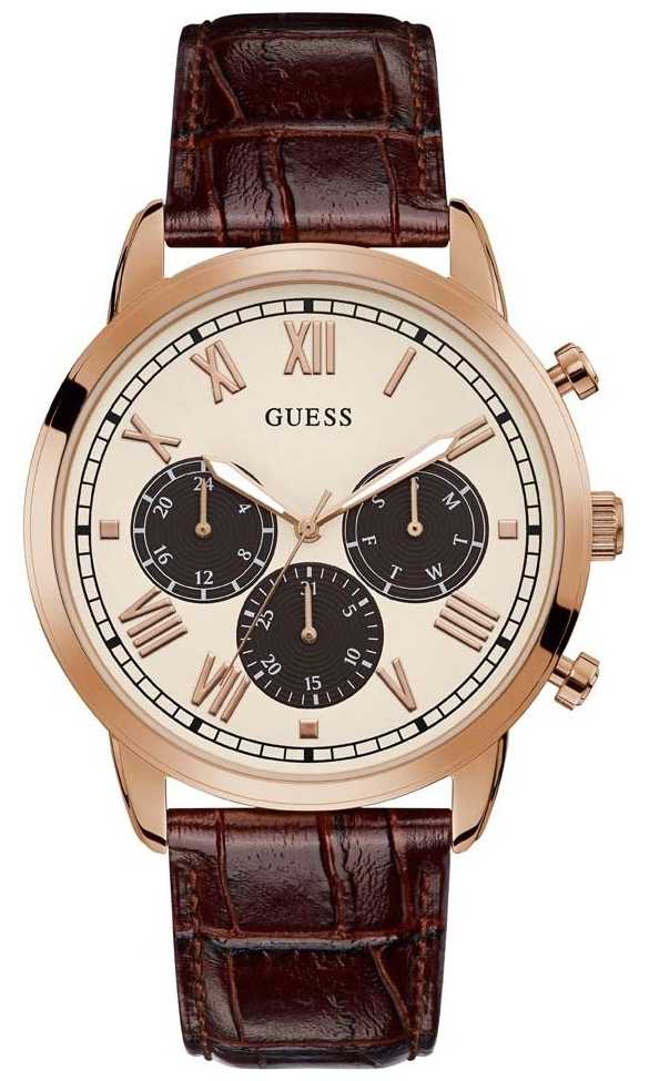 Guess | Men's Hendrix | Brown Leather Strap | Beige Dial | GW0067G3