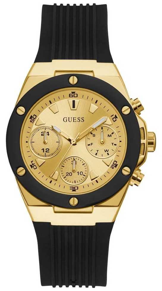 Guess | Women's Athena | Black Rubber Strap | Gold Dial | GW0030L2