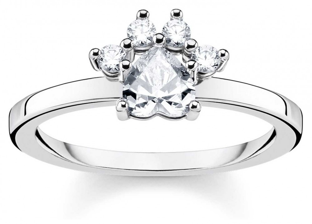 Thomas Sabo Glam And Soul Sterling Silver 'Cat Paw' Ring Size EU 54 (UK N) TR2289-643-14-54