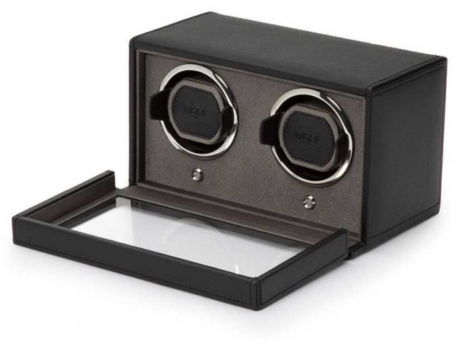 WOLF Cubs Black Double Watch Winder With Cover 461203