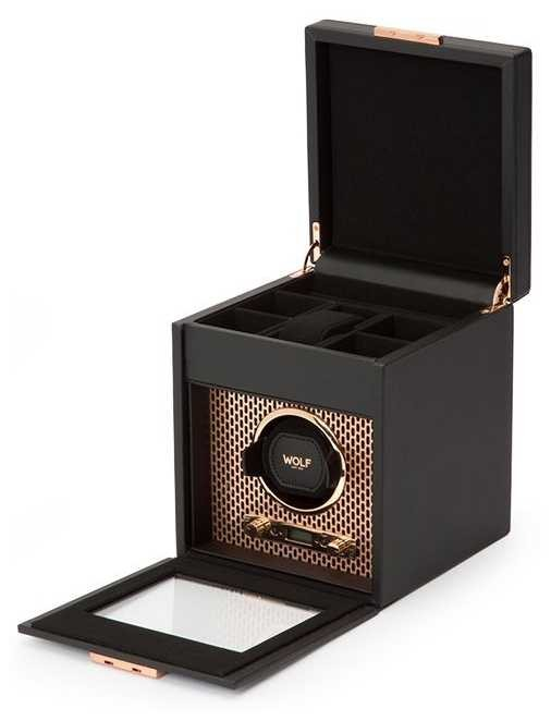 WOLF Axis Copper Single Watch Winder With Storage 469216