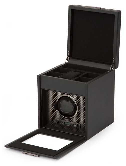 WOLF Axis Powder Coat Single Watch Winder With Storage 469203
