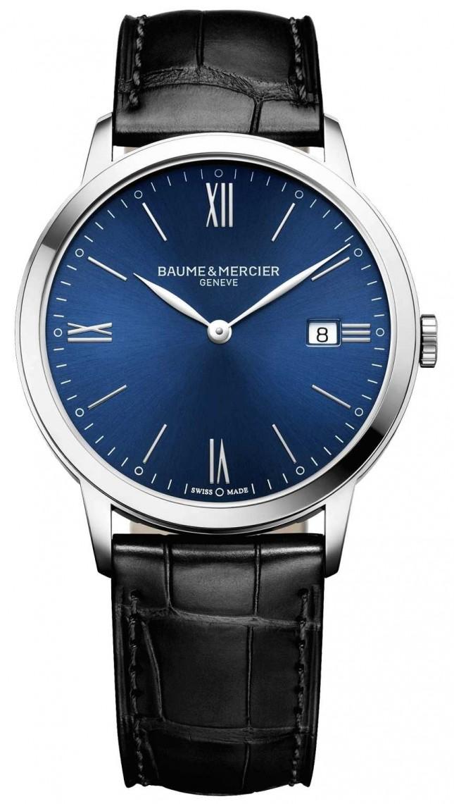 Baume & Mercier   Mens Classima   Black Leather Strap   Blue Dial   M0A10324