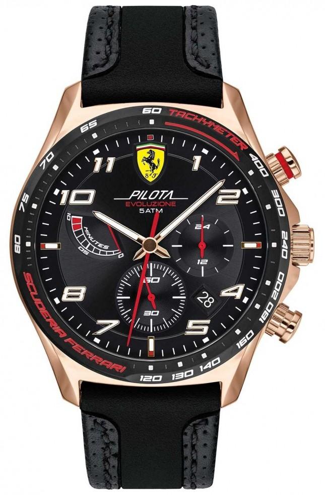 Scuderia Ferrari | Men's Pilota | Black Leather/Silicone Strap | Black Dial 0830719