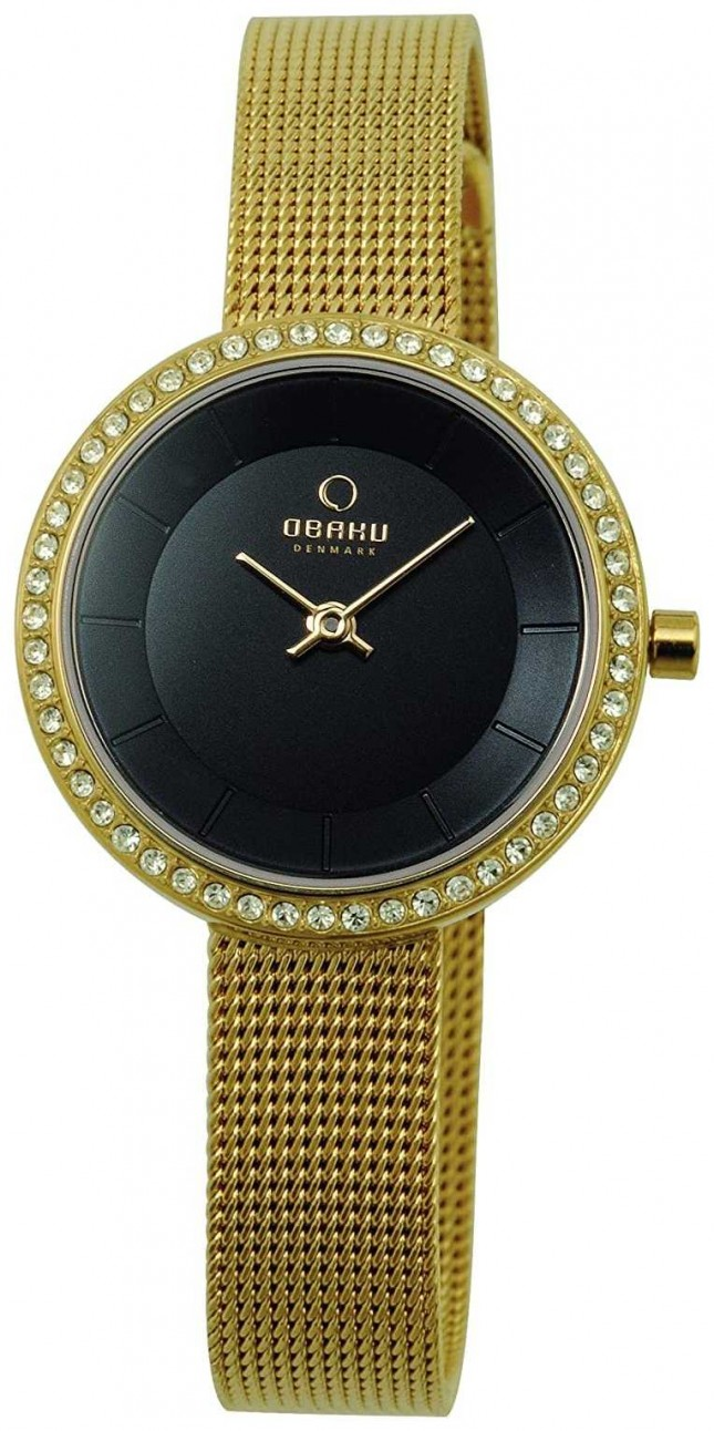 Obaku Women's 27mm Gold-Tone Steel Bracelet & Case Quartz V146LGBMG2