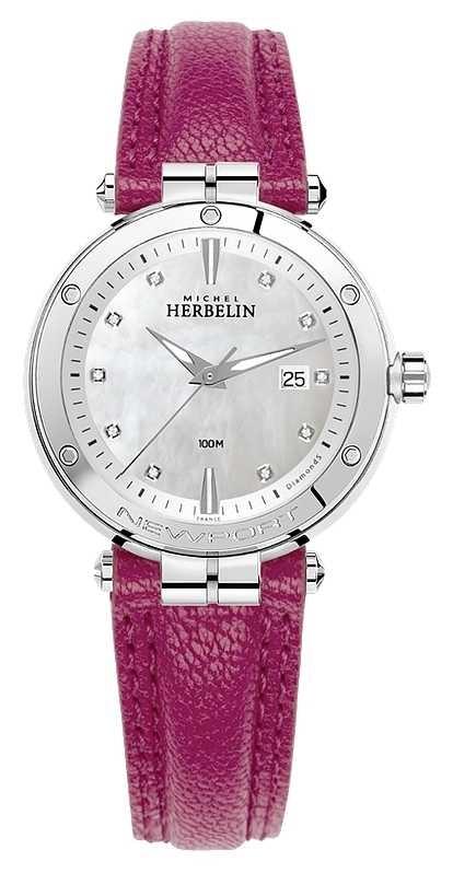 Michel Herbelin Newport Diamond Set Dial Fuschia Leather Strap 14288/AP89FU