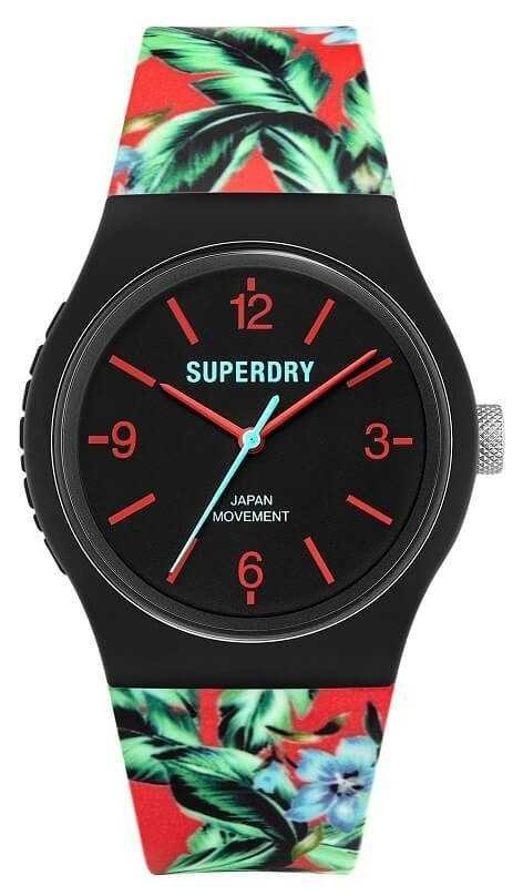 Superdry Urban | Multi-Coloured Floral Rubber Strap | Black Dial SYG298BN