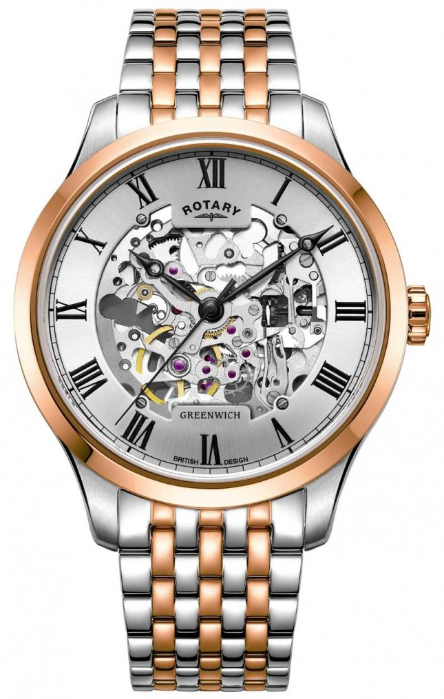 Rotary Greenwich Automatic   Two-Tone Bracelet   Skeleton Dial GB02944/06