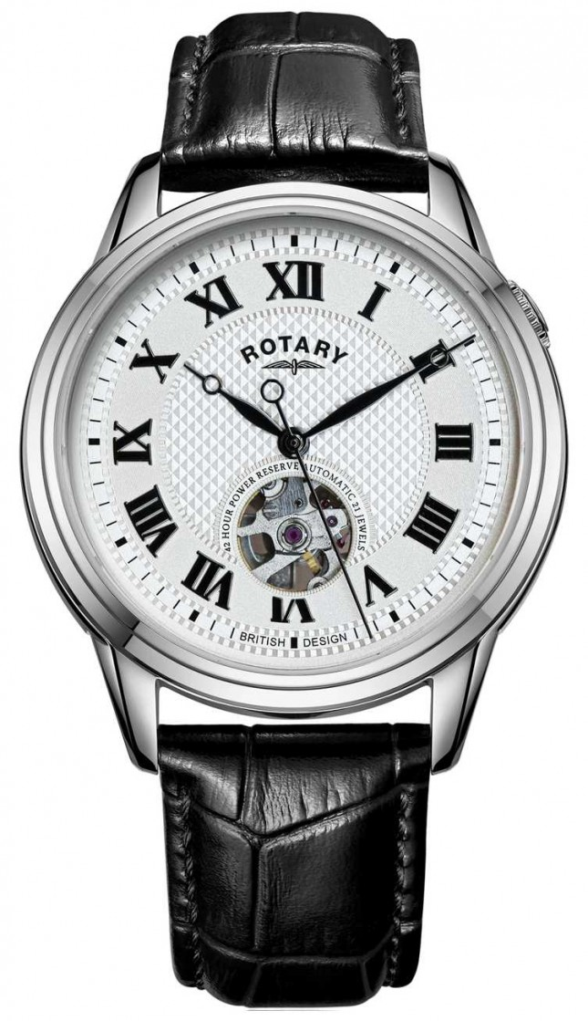 Rotary Cambridge Automatic   Black Leather Strap   Silver Dial GS05365/70