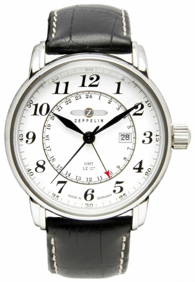 Zeppelin LZ 127 Transatlantic GMT   Black Leather Strap   White Dial 7642-1