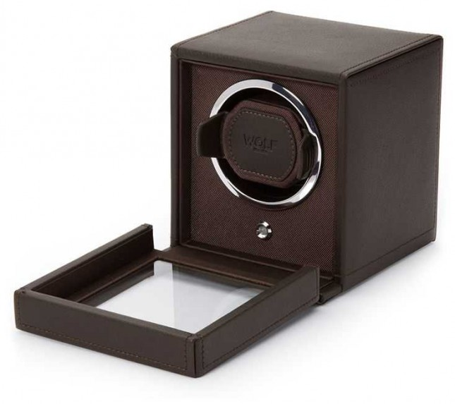 WOLF Cubs Brown Single Watch Winder With Cover 461106