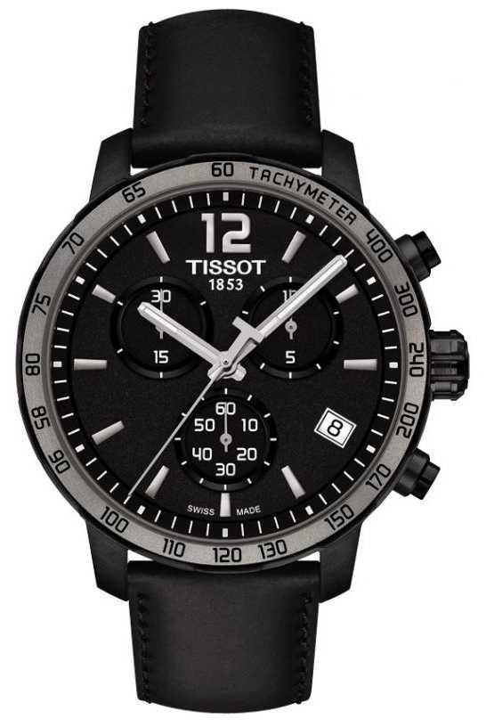 Tissot Quickster Chronograph Quartz Black Leather Black Dial T0954173605702
