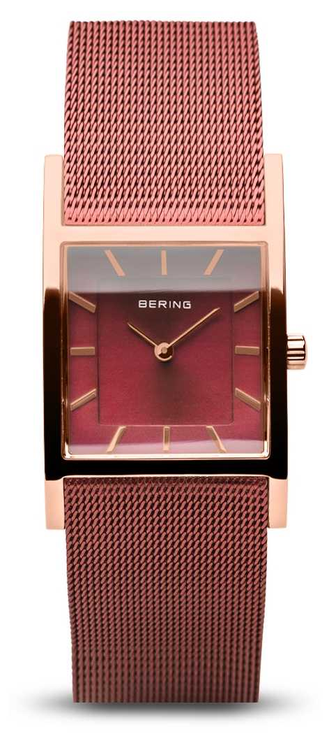 Bering Women's Classic | Polished Rose Gold | Red Mesh Bracelet 10426-363-S