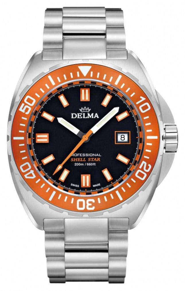 Delma Shell Star Quartz | Stainless Steel Bracelet | Orange Bezel 41701.676.6.151