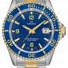 Delma Santiago Quartz   Two-Tone Steel Bracelet   Blue Bezel 52701.562.6.044