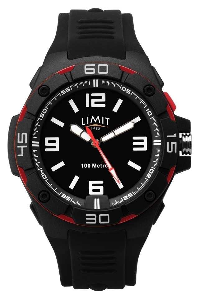 Limit   Men's Black Rubber Strap   Black Dial   Red/Black Bezel 5789.65