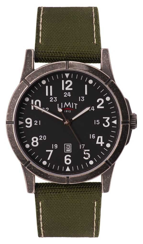 Limit Men's Green Canvas Strap   Black Dial   Alloy Case 5790.01
