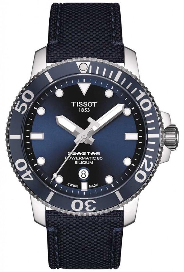 Tissot Seastar 1000 Powermatic   Blue Fabric Strap   Blue Dial T1204071704101