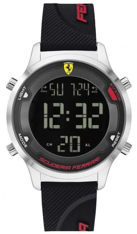 Scuderia Ferrari Men's Digitrack | Black Rubber Strap | Black Digital Dial 0830756