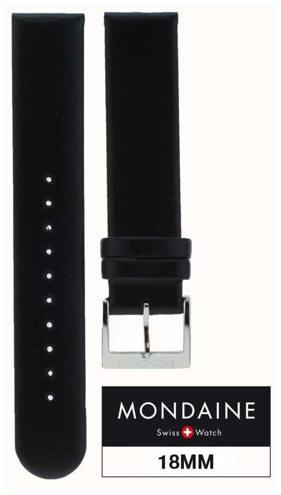 Mondaine 18mm Genuine Leather Strap Black Stitching Red Stitch Keeper FE311820Q5