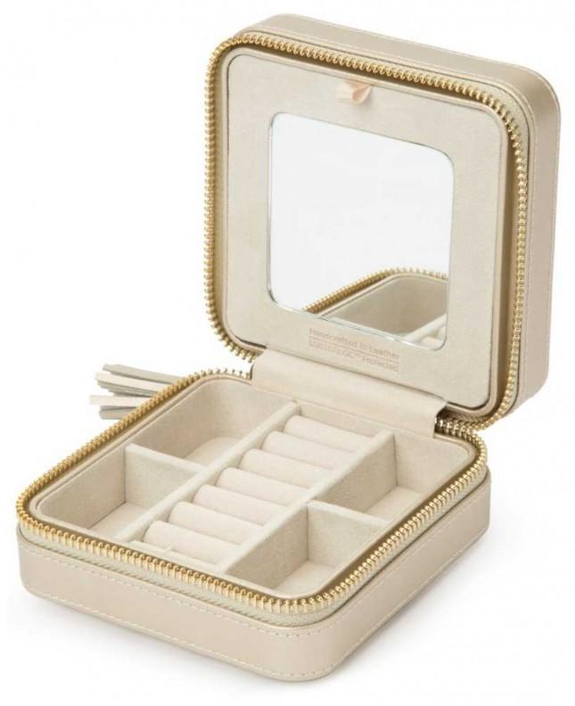WOLF Caroline Champagne Zip Travel Jewellery Case 329946