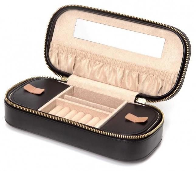 WOLF Chloe Black Zip Jewellery Case 301202