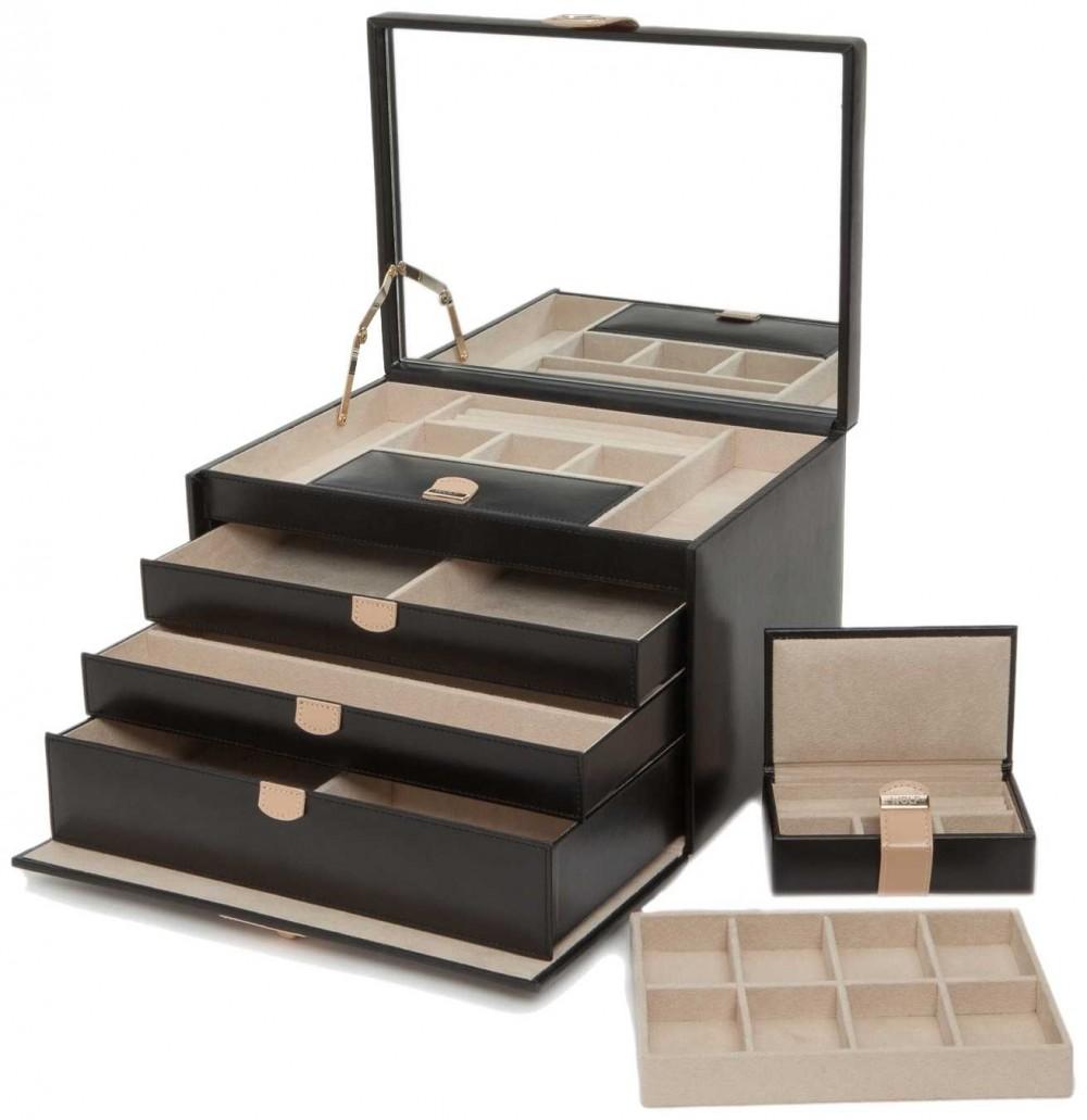 WOLF Chloe Black Large Jewellery Box 301502