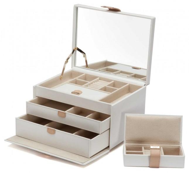 WOLF Chloe Cream Medium Jewellery Box 301053