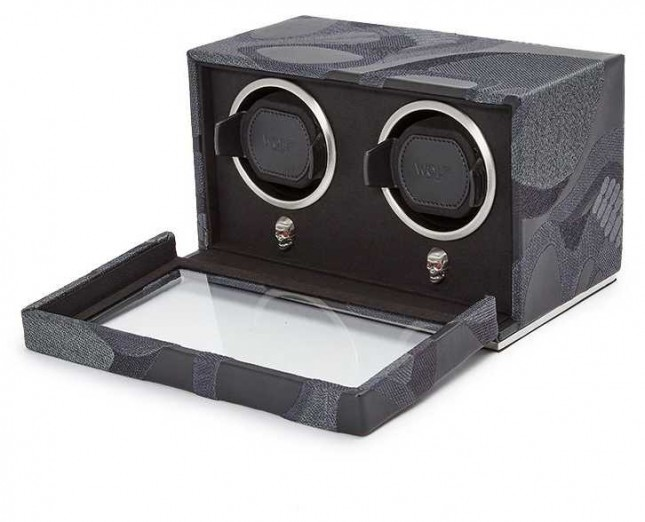 WOLF Memento Mori Black Double Cub Watch Winder With Cover 493202