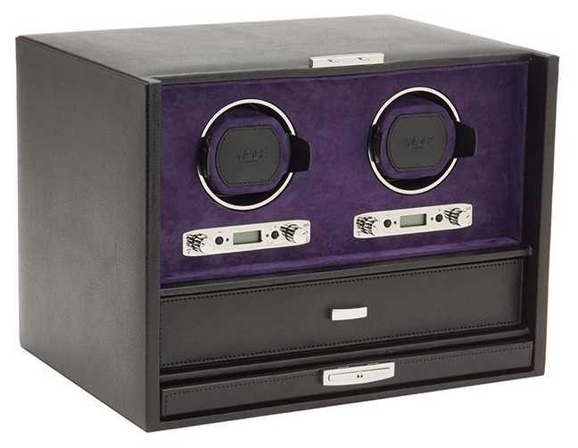 WOLF Blake Black Pebble/Purple Double Winder With Storage And Travel Case 460728