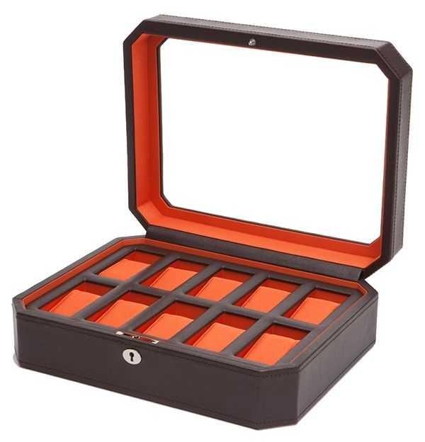 WOLF Windsor Brown/Orange 10Pc Watch Box 458406