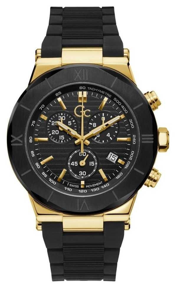 Gc Men's Force | Black Rubber Strap | Black Dial | Gold Case Y69005G2MF