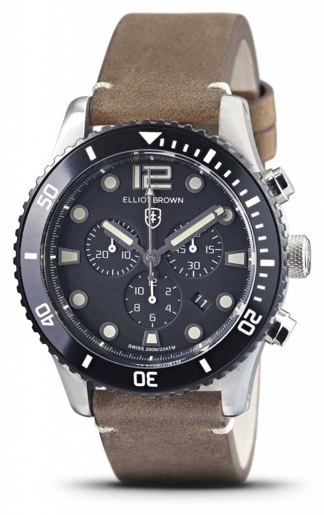 Elliot Brown Bloxworth   Vintage Brown Leather Strap   Black Dial 929-016-L21