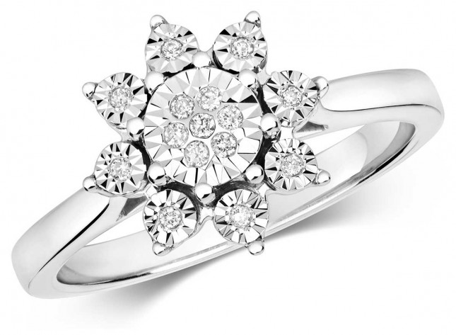 James Moore TH 9ct White Gold Illusion Diamond Flower Cluster Ring Size M RD596W/M