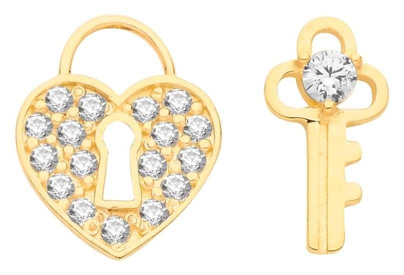 Treasure House 9ct Gold Cz Heart And Key Mix Match Stud Earrings ES686