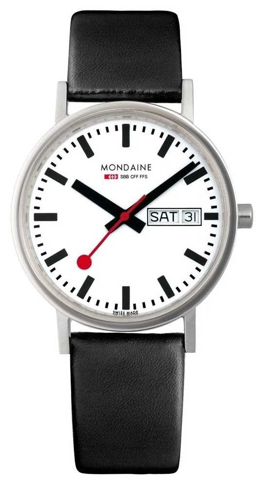 Mondaine Classic 36 Mm Day Date | Black Leather Strap | White Dial A667.30314.11SBB